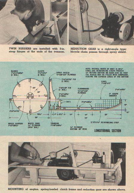 POGO motorized paddle wheel boat plan from 1950s