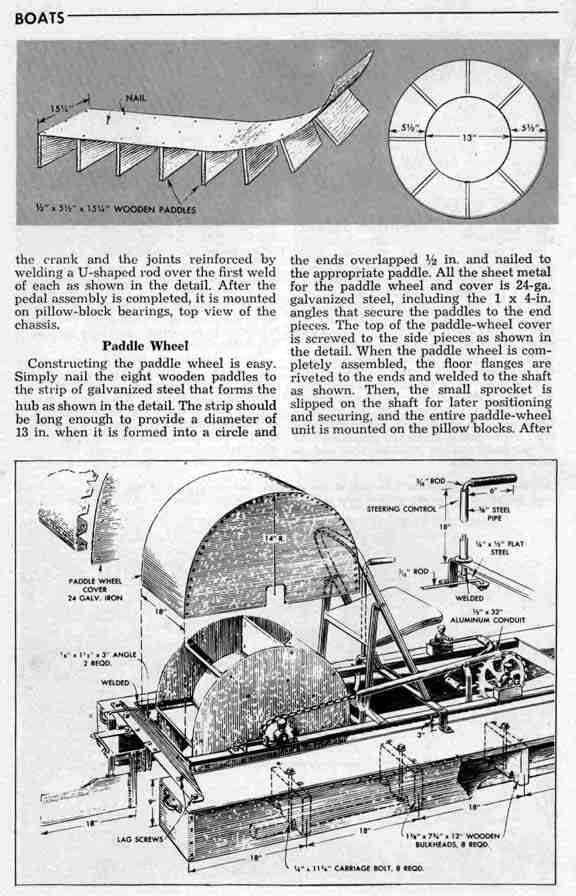 pedal paddle wheel boat plan from 1961